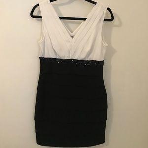 Elegant Sweet Storm Black & White Dress